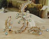 Vintage HAR Demi-Parure AB Rhinestones  SIGNED Brooch w Matching  Earrings