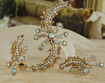 Vintage HAR Demi-Parure AB Rhinestones, Hargo Creations New York, 1960s Aurora Borealis Curved Brooch and Earrings