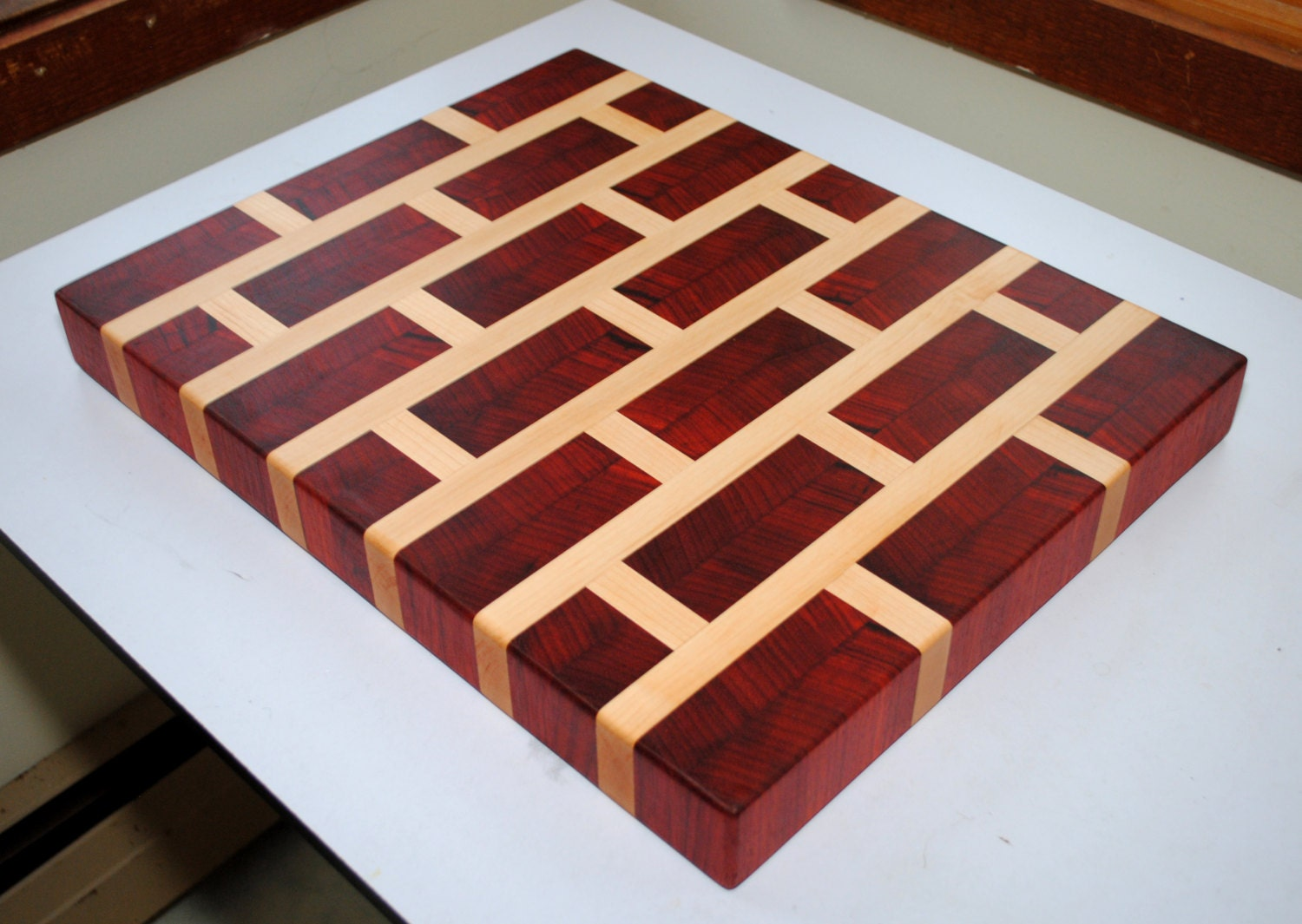 Brick Pattern Padauk And Maple End Grain Cutting Board