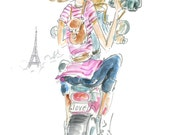 Printable Fashion Girl Illustration - Motor Scooter in Paris