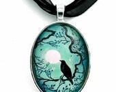Black Raven Necklace Silhouette Teal Blue Moon Crow Bird Pendant Zen Tree Branches Cherry Blossoms Art Pagan Boho Bohemian Gypsy Jewelry