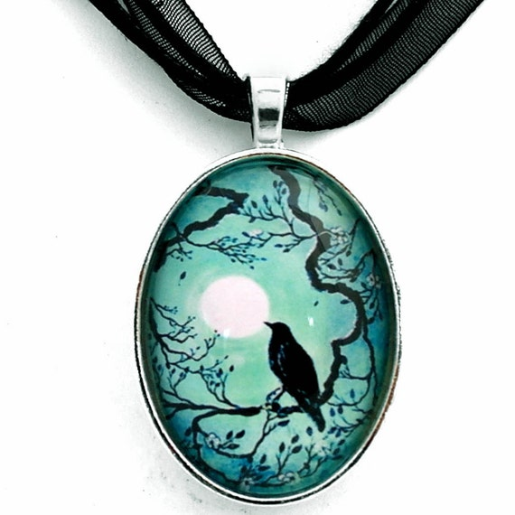 Black Raven Necklace Silhouette Teal Blue Moon Crow Bird Pendant Zen Tree Branches Cherry Blossoms Art Pagan Boho Bohemian Gypsy Jewelry