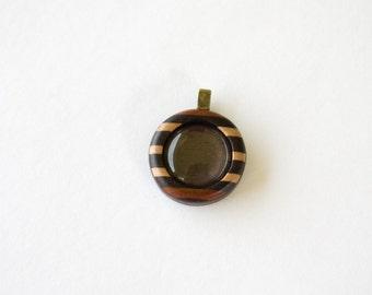 Fine Marquetry Work Wooden Pendant - 20 mm - Brass Bail - (Z203-X)