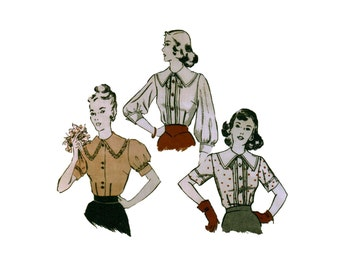 30s uncut Gibson Girl Blouse Pattern vintage blouse pattern 34-28-37 bishop sleeve butterick 4487