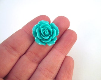 10 teal blue 20mm rose resin cabochons, beautiful flower cabs