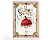 The Sugar Plum Fairy, Christmas card, Nutcracker, fairy card, ballerina, holiday card, vintage sheet music, red dress, ballet dancer
