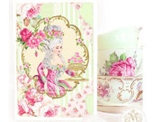 Marie Antoinette, card, pink roses, mint green, vintage wallpaper, macaron, birthday card, high tea,  shower tea, let them eat cake