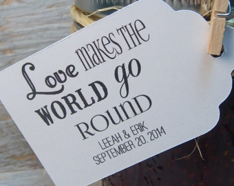 25 Love Makes the World go Round - Small Personalized Wedding Favor Tags