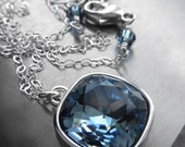 Blue Crystal Necklace, Swarovski Crystal, Sky Blue Square Cushion Cut Crystal Pendant, Something Blue Wedding Bridal Bridesmaid Jewelry 4470