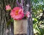 wall pocket vase . handmade pottery . ferns