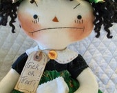 Primitive Cute Bad Attitude Trick or Treat Raggedy Ann girl doll  by yellowsweetpotato