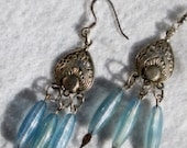 Earrings, Beautiful Blue 3/4 inch Beads, Hanging From Silver , Top and Bottom, Beautiful Front and Back,