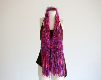 Hand Knit Satin Ribbon Scarf Hot Pink Satin Scarf Violet Purple Dark Pink Magenta Fucshia Bright Bold Colorful Scarf