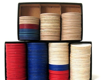 Vintage Poker Chips - Embossed Poker Chips - Noiseless Poker Chips- Red, White and Blue - Over 150 Pieces