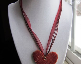 Great VALENTINE'S DAY GIFT - Heart Pendant Necklace in Red