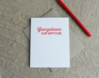 DC Love Letterpress Card: Georgetown is my Happy Place