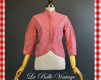 50s Red Gingham Blouse ~ Vintage Tailored Picnic Blouse ~ Designer Lorraine Budny