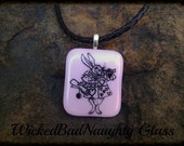 WBN Pink Running Rabbit Fused Glass Choker Necklace