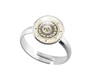 Compass Ring, Monogram Personalized Adjustable Ring, Nautical Jewelry gift