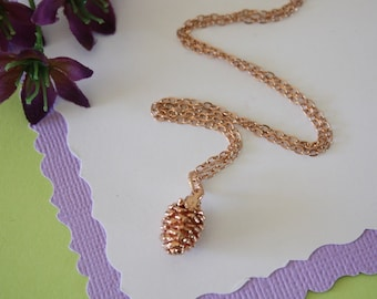 Rose Gold Pinecone Real Necklace, Small Real Pinecone Necklace, Pine cone, Pinecone, Pink Gold, PC18