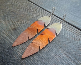 Ombre Gold Orange Feather Earrings, Hammered Copper Earrings, Hawk Feather Earrings, Copper Feather Earrings, Metal Feather Earrings