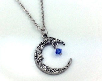 Crescent Moon, Birthstone Necklace, Crystal Jewelry, Moon Necklace, Swarovski Crystals, Silver Moon Pendant, Crystal Dangle, Silver Plated