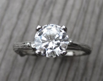 Moissanite Twig Engagement Ring: White Gold; 1.25ct Forever Brilliant ™, READY TO SHIP