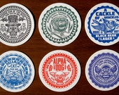 "ChetArt Drink Coasters- 4"" Round Variety of 6 Thick Paper Coasters With Whimsical Fictitious Beer Brands"