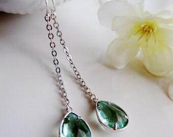 Aquamarine Earrings, Long Silver Earrings, Aquamarine, Modern, Bridesmaid Earrings, Wedding Jewelry, gardendiva