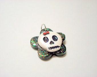 Glitter Sugar Skull Black and White with Red ow Handmade Polymer Clay Pendant or Focal Bead