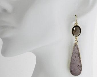 Dramatic Agate Dendrite Druzy Teardrop Statement Earrings Raw Stone Earrings Quartz Crystal Earrings AM-E-105-Br/Bg