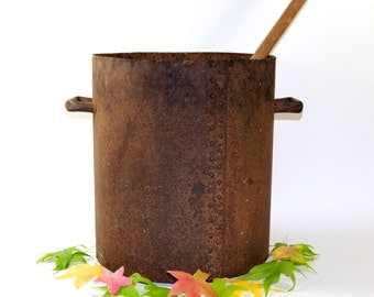 1800s Handmade Cook Pot | Giant Cauldron | Vintage Autumn Decor