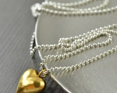 I love you Mixed metal necklace Gold heart Minimal necklace