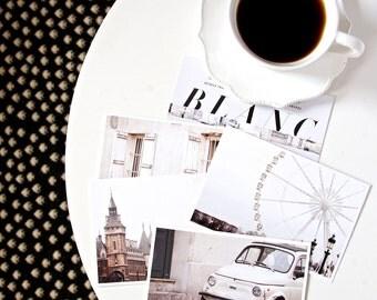 SALE Paris Postcard Set White 4x6 Print, Paris Print Art Postcards
