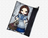 Jasmine Becket-Griffith Dorothy & her little dog too, zippered pouch wristlet, travel bag,