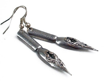 Poetry Passion - Vintage Pen Nibs - Intricate Silver on Steel Earrings Jewelry