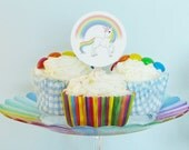 Rainbow Unicorn cupcake toppers rainbows and unicorns printable cupcake toppers DiY birthday party baby shower PDF files