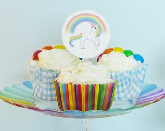 Rainbow Unicorn party cupcake toppers rainbows and unicorns printable cupcake toppers DiY birthday party baby shower PDF files