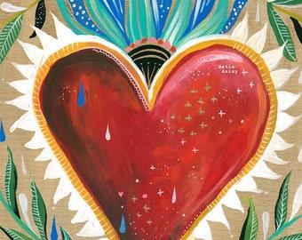 Sacred Heart Art Print | Wall Art | Folk Art| Love Painting | Katie Daisy | 8x10 | 11x14