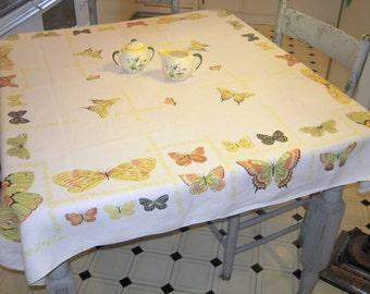 Vintage Tablecloth Colorful Butterflies