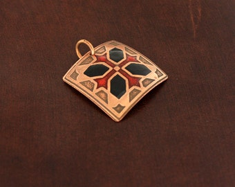 Red and black tile pendant in copper.