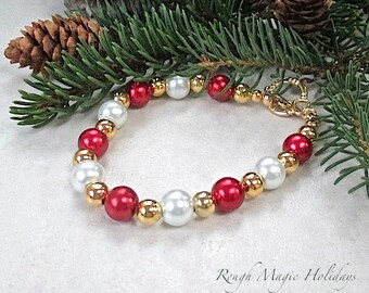 Red Gold & White Pearls Bracelet, Christmas Holiday Jewelry for Her, Gift for Woman, Present for Wife Heart Toggle Clasp  B266B