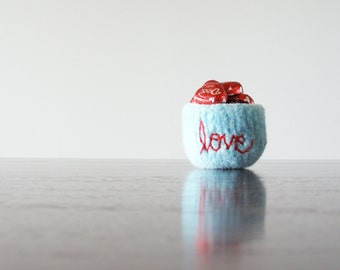 "felted wool jewelry bowl - aqua blue soft wool bowl with embroidered ""love"" in red - ring dish  - Valentine's day gift for friends or family"