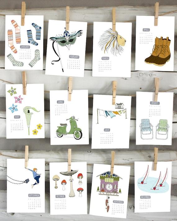 Calendar Design Illustrator : Items similar to sale off calendar illustrated