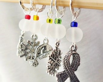 Baby It's Cold Outside - Five Handmade Stitch Markers - 6.5 mm (10.5 US) - Limited Edition