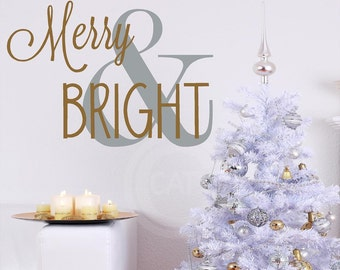 Merry & Bright with large symbol Christmas Vinyl lettering wall decal sticker home decor art