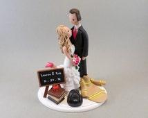 Wedding Cake Topper - Customized Firefighter & Teacher
