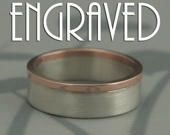 Modern Two Tone Wedding Band--Solid 14K Rose Gold and Sterling Silver--Brushed and Polished--Men's Ring--Custom Engraving with Your Message