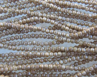 3mm Faceted Opaque Aged Ivory Picasso Luster Vintage Cut Firepolish Czech Glass Beads - Qty 50 (BW195)