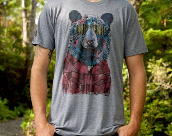 Hipster Bear and Birch Trees on Unisex Heather Grey Tee